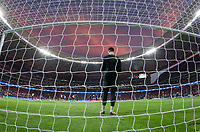 Chelsea´s goalkeeper Thibaut Courtois before the UEFA Champions League group C match between Atletico Madrid and Chelsea played at the Wanda Metropolitano Stadium in Madrid, on September 27th 2017.
