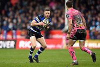 Rhys Priestland of Bath Rugby in possession. Anglo-Welsh Cup Final, between Bath Rugby and Exeter Chiefs on March 30, 2018 at Kingsholm Stadium in Gloucester, England. Photo by: Patrick Khachfe / Onside Images