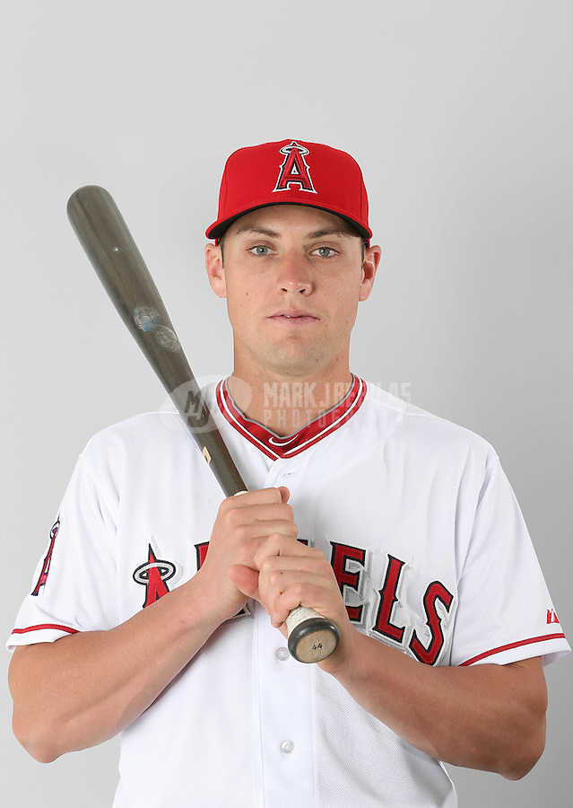 Feb. 21, 2113; Tempe, AZ, USA: Los Angeles Angels outfielder Peter Bourjos poses for a portrait during photo day at Tempe Diablo Stadium. Mandatory Credit: Mark J. Rebilas-