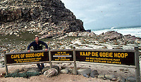 At the Cape of Good Hope in South Africa while retracing Mark Twain's route around the world.
