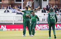 Shaheen Afridi (Pakistan) celebrates the wicket of Tamim during Pakistan vs Bangladesh, ICC World Cup Cricket at Lord's Cricket Ground on 5th July 2019