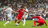 Nottingham Forest's Yuri Ribeiro battles with Leeds United's Pablo Hernandez and Stuart Dallas<br /> <br /> Photographer Alex Dodd/CameraSport<br /> <br /> The EFL Sky Bet Championship - Leeds United v Nottingham Forest - Saturday 10th August 2019 - Elland Road - Leeds<br /> <br /> World Copyright © 2019 CameraSport. All rights reserved. 43 Linden Ave. Countesthorpe. Leicester. England. LE8 5PG - Tel: +44 (0) 116 277 4147 - admin@camerasport.com - www.camerasport.com