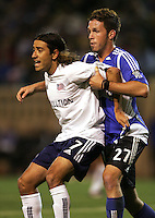 2 April 2005:   Jose Cancela of Revolution against Danny O'Rourke Earthquakes at Spartan Stadium in San Jose, California.   Earthquakes and Revolutions tied at 2-2.  Credit: Michael Pimentel / ISI