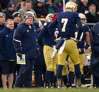 Head coach Brian Kelly is unhappy in the first quarter.