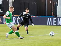 9th February 2020; Indodrill Stadium Alloa, Alloa Clackmannashire, Scotland; Scottish Cup Football, BSC Glasgow versus Hibernian; Gerg Docherty of Hibernian scores the fourth goal for Hibernian past keeper Marshall