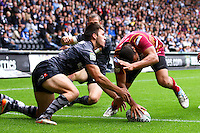 PICTURE BY ALEX WHITEHEAD/SWPIX.COM - Rugby League - Super League - Hull FC v Huddersfield Giants - KC Stadium, Hull, England - 01/07/12 - Huddersfield's Leroy Cudjoe scores a try.