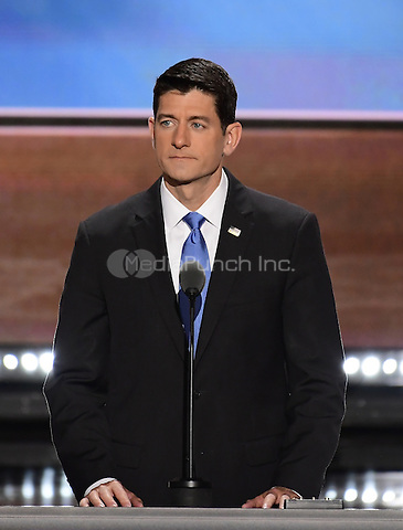 Speaker of the United States House of Representatives Paul Ryan (Republican of Wisconsin) rehearses for his appearance later this evening at the 2016 Republican National Convention held at the Quicken Loans Arena in Cleveland, Ohio on Tuesday, July 19, 2016.<br /> Credit: Ron Sachs / CNP/MediaPunch<br /> (RESTRICTION: NO New York or New Jersey Newspapers or newspapers within a 75 mile radius of New York City)
