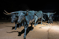 Pioneer Plaza in downtown Dallas display of larger than normal sized bronze statues of longhorn cattle as they might appear as they were driven along the Shawnee trail in the 19th century.  There are 49 Texas longhorns and 3 riders at this heavly visited  park  in the city of Dallas. They put in artificial ridge with water feature and limestone cliffs along native landscaping to get the natural feel.
