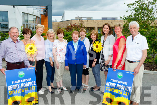 L-R Joe Hennebury, chairperson of the Kerry Hospice, Mary Shanahan, Secretary, KH, Mairead Fernane, Tresurer, KH, Ursula O'Connell, West Kerry hospice, Mary O'Connor, Sr Margaret Flynn, Jenny Tarrant and Eileen Sheehy all Listowel hospice, Katie Hannon, patron, Maura O'Sullivan, KH, and Pat Doolan from Killarney hospice at the launch of the Kerry Hospice SunFlower day, at the UHK last Saturday afternoon, which will be held county wide on Fri&Sat June 8&9 next.