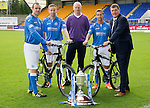 St Johnstone FC 2014-2015 Season Photocall..15.08.14<br /> From left, Dave Mackay, Steven MacLean, bike shop owner, Chris Milar and Tommy Wright<br /> Picture by Graeme Hart.<br /> Copyright Perthshire Picture Agency<br /> Tel: 01738 623350  Mobile: 07990 594431