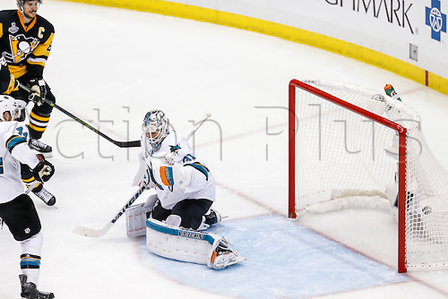 June 1, 2016:  San Jose Sharks goalie Martin Jones (31) fails to save shot by Pittsburgh Penguins left wing Conor Sheary (43) during the San Jose Sharks and Pittsburgh Penguins NHL Stanley Cup playoff game at Consol Energy Center in Pittsburgh, PA. Pittsburgh beat San Jose in overtime, 2-1.