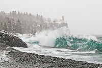 """Winter Storm at Split Rock Lighthouse""<br />