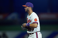 Andrew Cox (6) of the Clemson Tigers on defense against the Duke Blue Devils in Game Three of the 2017 ACC Baseball Championship at Louisville Slugger Field on May 23, 2017 in Louisville, Kentucky. The Blue Devils defeated the Tigers 6-3. (Brian Westerholt/Four Seam Images)