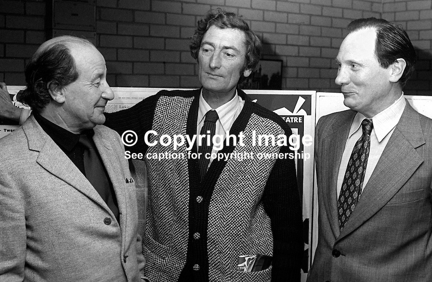 Lyric Theatre, Ridgeway Street, Belfast, N Ireland - left to right - John Boyd, James Plunkett and Dr Pearce O'Malley - 27th February 1976. 197602270122a<br />