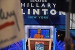 Senator Hillary Clinton speaks at the Democratic National Convention at the Pepsi Center in Denver, Colorado on August 26, 2008.