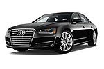 Stock pictures of low aggressive front three quarter view of 2015 Audi A8 3.0T LWB quattro tiptronic 4 Door Sedan