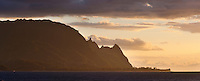 Gentle sunset light caressed Mt. Makana (Bali Hai) on Kauai's north shore.