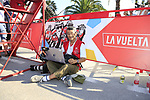 Photographer Yuzuru Sunada working hard at the end of Stage 2 of La Vuelta 2019 running 199.6km from Benidorm to Calpe, Spain. 25th August 2019.<br /> Picture: Eoin Clarke | Cyclefile<br /> <br /> All photos usage must carry mandatory copyright credit (© Cyclefile | Eoin Clarke)