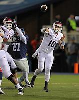 11/7/15<br /> Arkansas Democrat-Gazette/STEPHEN B. THORNTON<br /> Arkansas QB Brandon Allen throws in the third quarter versus Ole Miss  Saturday's game in Oxford, Miss.