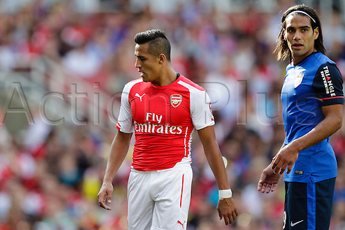 03.08.2014. London, England. Emirates Cup.  Arsenal versus AS Monaco.   The 2 key players in each side - Arsenal forward Alexis SANCHEZ & AS Monaco's Radamel FALCAO  With Monaco winning 0-1 and Valencia winning earlier in the day, Valencia won the tournament trophy.