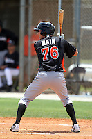 Miami Marlins Michael Main #76 during an extended Spring Training game against the New York Mets at the Roger Deam Complex on May 1, 2012 in Jupiter, Florida.  (Mike Janes/Four Seam Images)