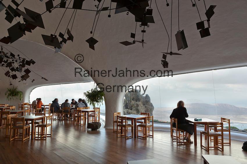 Spain, Canary Island, Lanzarote, near Haria: Mirador del Rio - cafe designed by Cesar Manrique   Spanien, Kanarische Inseln, Lanzarote, bei Haria: Aussichtspunkt Mirador del Rio - Cafe designed von Cesar Manrique