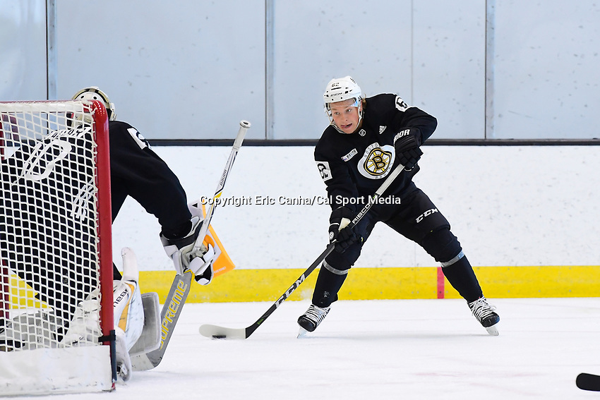 June 26, 2018: Boston Bruins forward Oskar Steen (62) shoots on goalie Dan Vladar (80) during the Boston Bruins development camp held at Warrior Ice Arena in Brighton Mass. Eric Canha/CSM