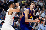 Artem Pustovyi of Real Madrid and Ante Tomic of FC Barcelona Lassa during Turkish Airlines Euroleague match between Real Madrid and FC Barcelona Lassa at Wizink Center in Madrid, Spain. December 13, 2018. (ALTERPHOTOS/Borja B.Hojas)