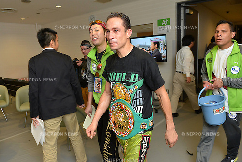 Gamaliel Diaz (MEX),.OCTOBER 27, 2012 - Boxing :.Gamaliel Diaz of Mexico walks with his champion belt after the WBC super featherweight title bout at Tokyo International Forum, Hall A in Tokyo, Japan. (Photo by Hiroaki Yamaguchi/AFLO)