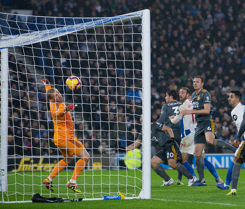 Brighton & Hove Albion's Glenn Murray scores his side's first goal  <br /> <br /> Photographer David Horton/CameraSport<br /> <br /> The Premier League - Brighton and Hove Albion v Leicester City - Saturday 24th November 2018 - The Amex Stadium - Brighton<br /> <br /> World Copyright © 2018 CameraSport. All rights reserved. 43 Linden Ave. Countesthorpe. Leicester. England. LE8 5PG - Tel: +44 (0) 116 277 4147 - admin@camerasport.com - www.camerasport.com