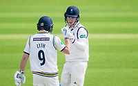 Picture by Allan McKenzie/SWpix.com - 20/04/2018 - Cricket - Specsavers County Championship - Yorkshire County Cricket Club v Nottinghamshire County Cricket Club - Emerald Headingley Stadium, Leeds, England - Yorkshire's Harry Brook touches gloves with Adam Lyth.
