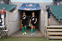Cary, North Carolina  - Saturday June 17, 2017: Abby Smith and Sammy Jo Prudhomme prior to a regular season National Women's Soccer League (NWSL) match between the North Carolina Courage and the Boston Breakers at Sahlen's Stadium at WakeMed Soccer Park. The Courage won the game 3-1.