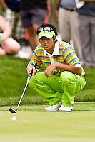March 27, 2009, Arnold Palmer Invitational * Second Round*.  Ryo Ishikawa, 17 year old golfer from Japan lines up a putt  on the 9th green during second round play  at Bay Hill Golf Club in Orlando, Florida...