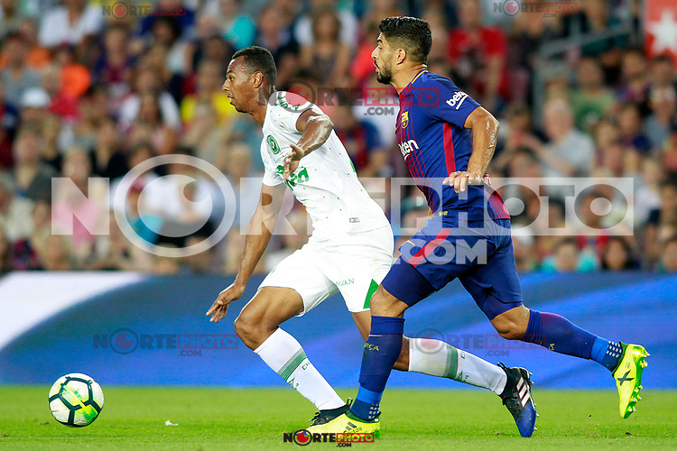 FC Barcelona's Luis Suarez (r) and Chapecoense's Luiz Otavio during Joan Gamper Trophy. August 7,2017. (ALTERPHOTOS/Acero) /NortePhoto.com