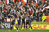 Lionard Pajoy of D.C. United celebrates with teammates his score. D.C. United defeated Real Salt Lake 1-0 in their home opener, at RFK Stadium, Saturday March 9,2013.