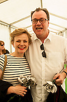 Hay on Wye, UK. Sunday 29 May 2016<br /> Pictured: Clemency Burton Hill talks to Maxine Peake and Russell T Davies at the Hay festival<br /> Re: The 2016 Hay festival take place at Hay on Wye, Powys, Wales