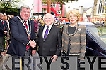 President Michael D Higgins and his wife Sabina are welcomed to Killarney by Mayor Cllr Sean Counihan, before he unveiled a plaque commemorating Killarneys victory in the 2011 Tidy Towns competition, on Saturday.