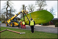 BNPS.co.uk (01202 558833)<br /> Pic: Longleat/BNPS<br /> <br /> Oversized insects are descending on Longleat house this Easter.<br /> <br /> The giant animatronic bugs are part of a new 'Marvellous monsters' feature aiming to highlight the amazing world of insects and the vital role they play in keeping the planet alive.<br /> <br /> Steve Mytton from Longleat said  'All the insects are based on real life bugs, just scaled up to the size of cars and vans.'