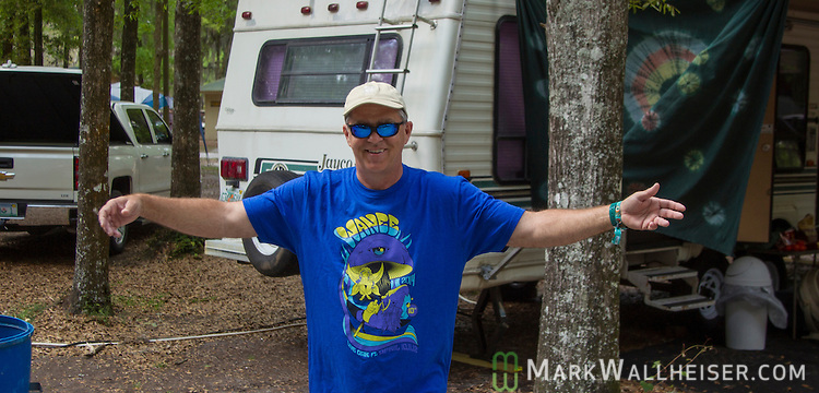 Greg wakes up the camp site Saturday during the Wanee Festival at the Spirit of the Swanee campground in Live Oak, Florida  April 12, 2014.