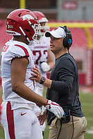 Hawgs Illustrated/BEN GOFF <br /> Justin Stepp, Arkansas wide receivers coach, talks to receiver Koilan Jackson in the second quarter Saturday, April 6, 2019, during the Arkansas Red-White game at Reynolds Razorback Stadium.