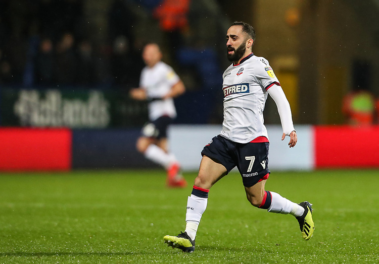 Bolton Wanderers' Erhun Oztumer <br /> <br /> Photographer Andrew Kearns/CameraSport<br /> <br /> The EFL Sky Bet Championship - Bolton Wanderers v Leeds United - Saturday 15th December 2018 - University of Bolton Stadium - Bolton<br /> <br /> World Copyright © 2018 CameraSport. All rights reserved. 43 Linden Ave. Countesthorpe. Leicester. England. LE8 5PG - Tel: +44 (0) 116 277 4147 - admin@camerasport.com - www.camerasport.com