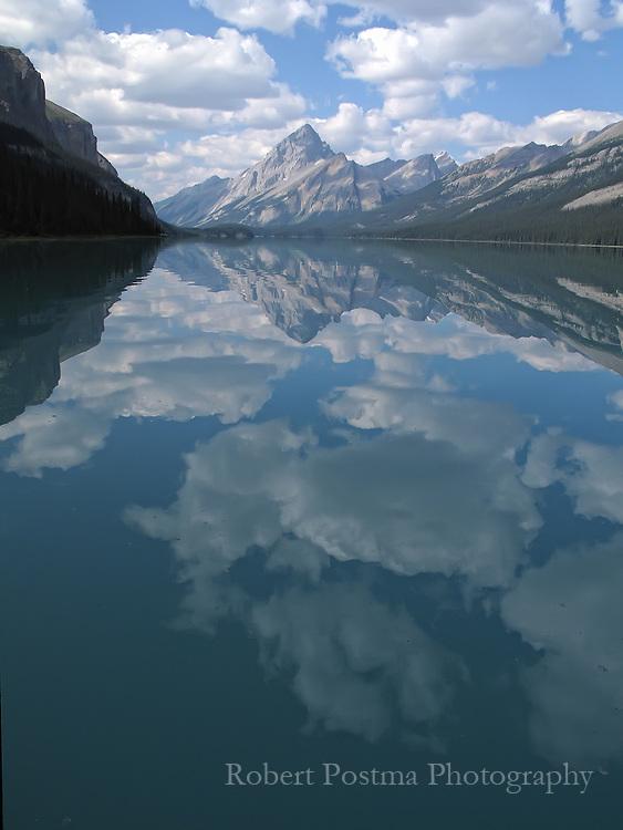 Samson Mountain relfected in Maligne Lake, Jasper National Park, Alberta.