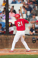 Paul DeJong (21) of the Johnson City Cardinals at bat against the Bristol Pirates at Howard Johnson Field at Cardinal Park on July 6, 2015 in Johnson City, Tennessee.  The Cardinals defeated the Pirates 8-2 in game two of a double-header. (Brian Westerholt/Four Seam Images)