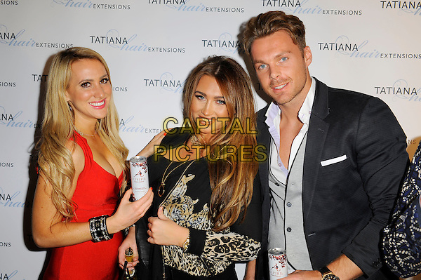 Rebecca Ferdinando, Lauren Goodger &amp; guest<br /> The Tatiana Hair Extensions LFW Avant Garde Catwalk Collection, Tatiana Hair Extensions, Kensington, London, England. <br /> 11th September 2013<br /> fashion week half length dress leopard print jacket suit red black <br /> CAP/MAR<br /> &copy; Martin Harris/Capital Pictures