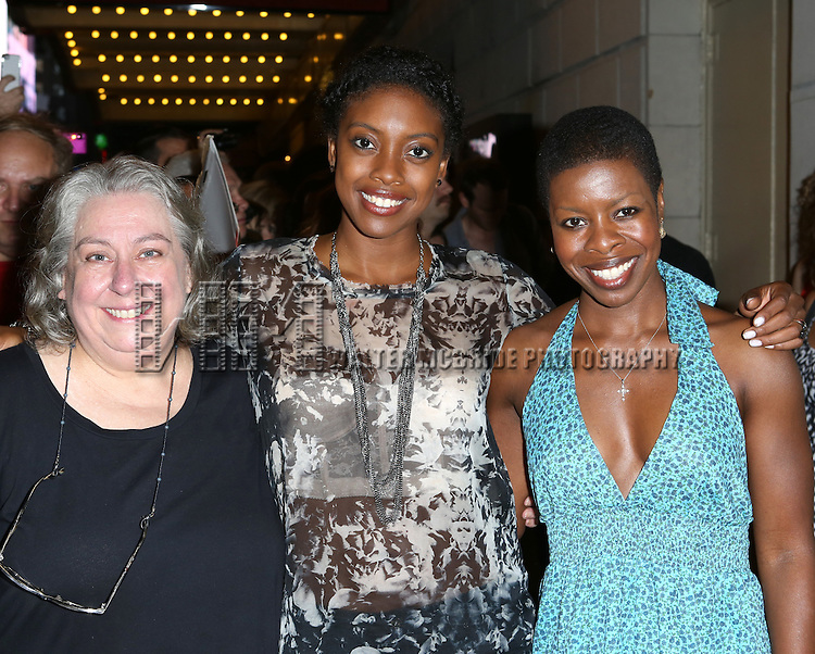 """Jayne Houdyshell, Condola Rashad and Roslyn Ruff greeting fans at the stage door the after the First Performance of """"Romeo And Juliet"""" On Broadway at the Richard Rodgers Theatre in New York City on 8/24/2013"""