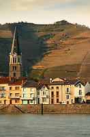 The church in Tain and hoses along the river. The Hermitage vineyards on the hill behind the city Tain-l'Hermitage, on the steep sloping hill, stone terraced. Sometimes spelled Ermitage. Tain l'Hermitage, Drome, Drôme, France, Europe