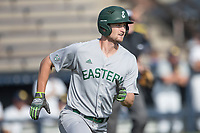 Eastern Michigan Eagles outfielder Jordan Peterson (3) runs to first base during the NCAA baseball game against the Michigan Wolverines on May 16, 2017 at Ray Fisher Stadium in Ann Arbor, Michigan. Michigan defeated Eastern Michigan 12-4. (Andrew Woolley/Four Seam Images)