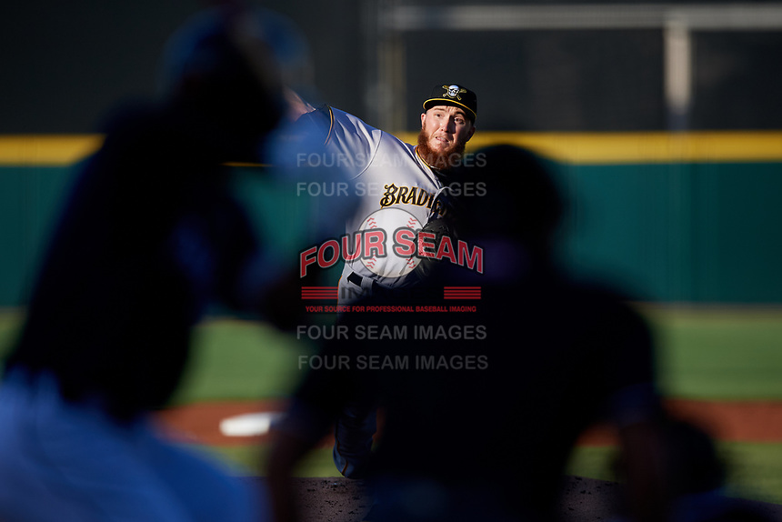 Bradenton Marauders starting pitcher A.J. Schugel (50) delivers a pitch during a game against the Lakeland Flying Tigers on April 12, 2018 at Publix Field at Joker Marchant Stadium in Lakeland, Florida.  Bradenton defeated Lakeland 5-4.  (Mike Janes/Four Seam Images)