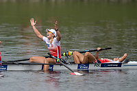 Sarasota. Florida USA.  Women's Quadruple final. Gold medalist, POL W4X.  right. Agnieszka<br /> KOBUS and Marta<br /> WIELICZKO, Celebrate.  2017 World Rowing Championships, Nathan Benderson Park<br /> <br /> Saturday  30.09.17   <br /> <br /> [Mandatory Credit. Peter SPURRIER/Intersport Images].<br /> <br /> <br /> NIKON CORPORATION -  NIKON D4S  lens  VR 500mm f/4G IF-ED mm. 200 ISO 1/1250/sec. f 4