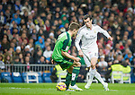 Real Madrid's Walese forward Gareth Bale during the Spanish league football match Real Madrid vs Celta de Vigo at the Santiago Bernabeu stadium in Madrid on december 6, 2014. Samuel de Roman / Photocall3000.